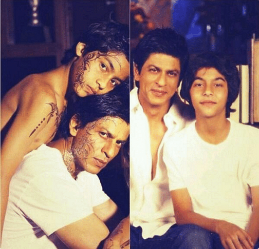 Like father, like son- Shah Rukh poses with his eldest son Aryan (Photo: Twitter/@_iamaryan)