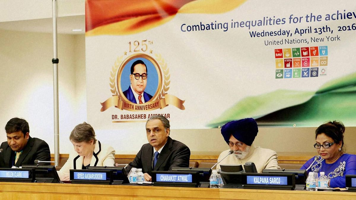 India's Permanent Representative to the UN, Syed Akbaruddin with other dignitaries at the commemoration of BR Ambedkar's 125th birth anniversary at the UN headquarters on Wednesday. (Photo: PTI)