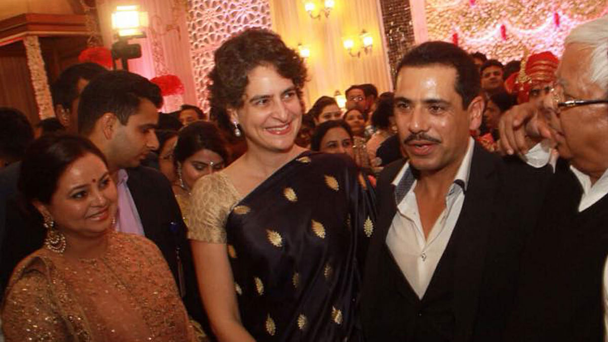 """Businessman Robert Vadra with wife and Congress president Sonia Gandhi's daughter Priyanka Gandhi (Photo Courtesy:<a href=""""https://www.facebook.com/photo.php?fbid=10155236003910029&amp;set=t.764044809&amp;type=3&amp;theater""""> Facebook</a>)"""