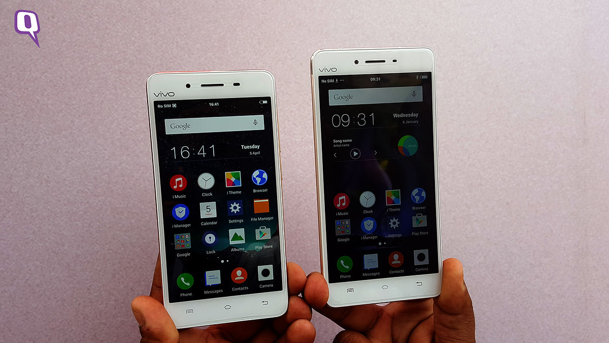 Vivo V3 and V3 Max smartphones launched in India. (Photo: <b>The Quint</b>)