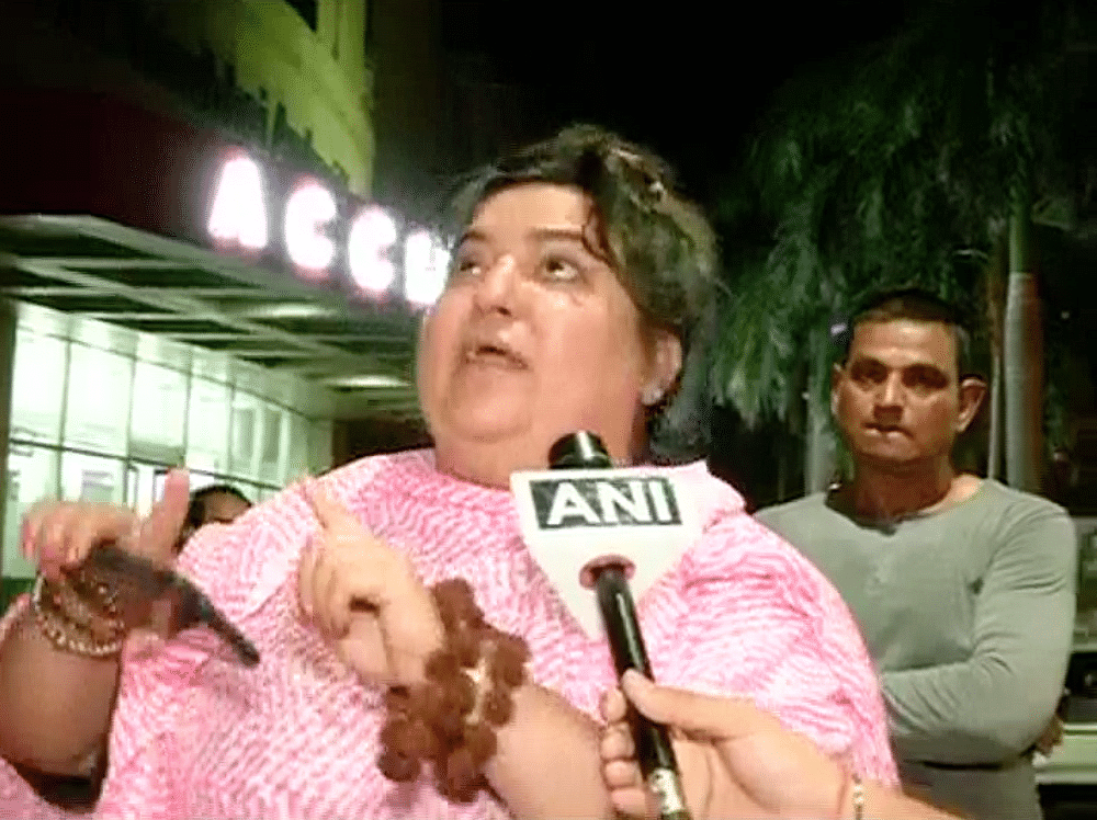 Dolly Bindra outside Kokilaben hospital. (Photo: ANI)
