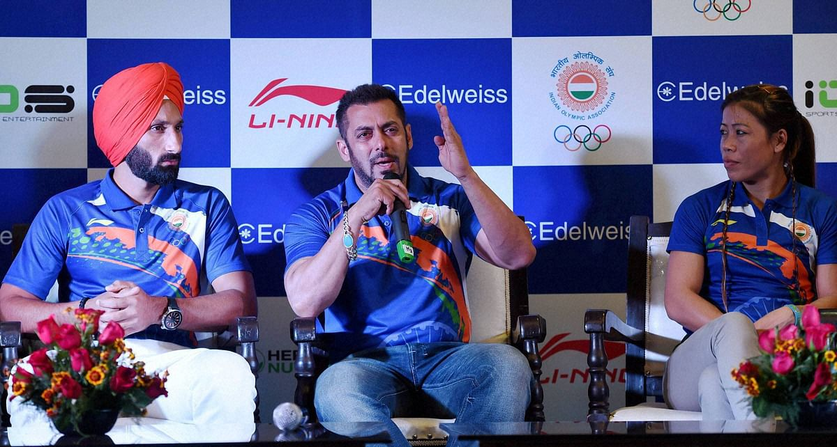 Salman Khan at the event to announce his appointment as India's goodwill ambassador for the Rio Olympics. (Photo: PTI)