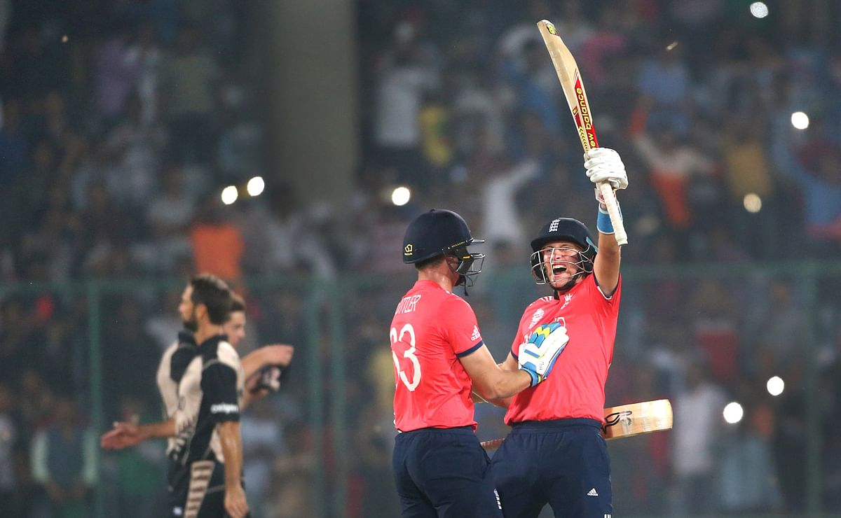 England celebrate their victory over New Zealand. (Photo: AP)