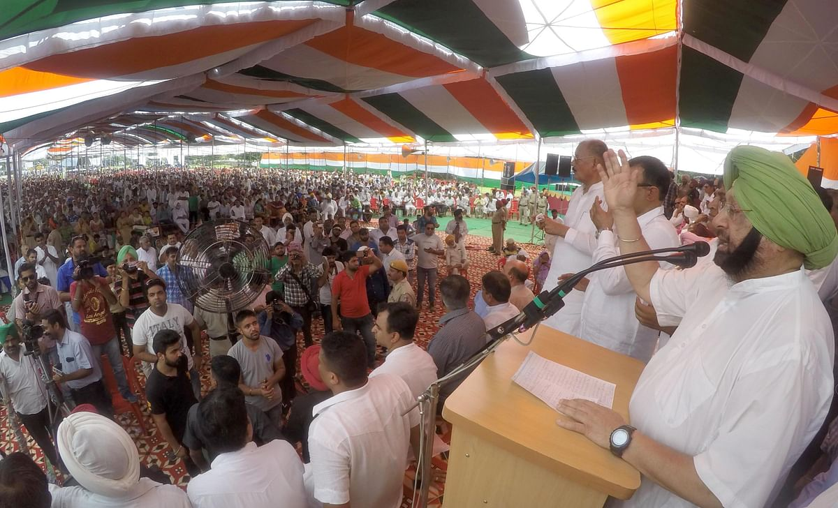 File photo of Capt Singh during a rally. (Photo: IANS)