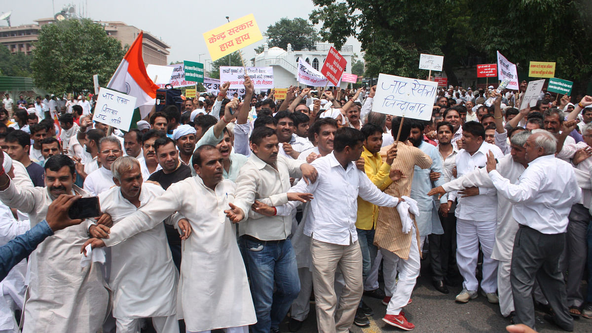 Jats stage a demonstration to press for reservation in New Delhi, on August 4, 2015. (Photo: IANS)