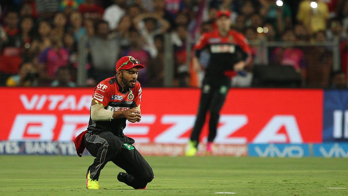 Mandeep Singh of Royal Challengers Bangalore takes a catch to dismiss Thisara Perera. (Photo: BCCI)