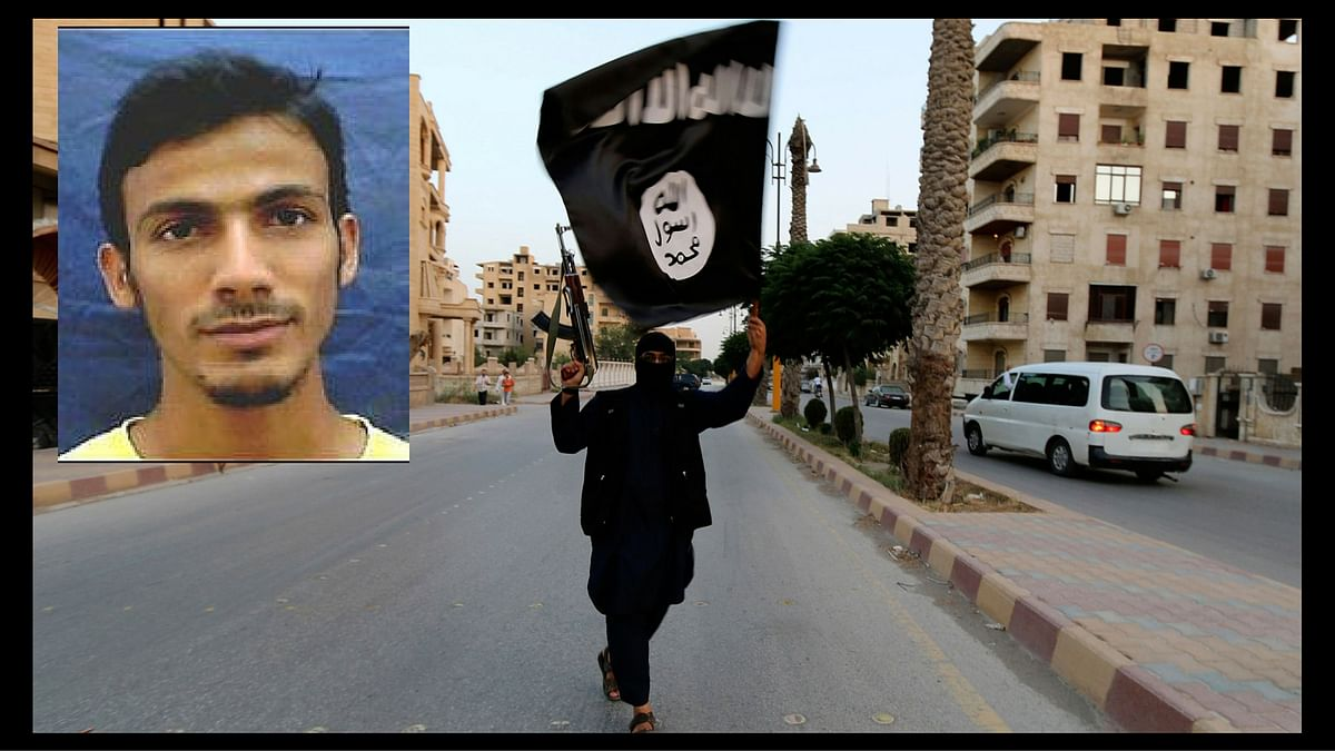 """An ISIS supporter holding the flag of the outfit and Mohammad Shafi Armar (insert) the chief India recruiter. (Photo: Reuters/<a href=""""http://www.interpol.int/notice/search/wanted/2014-48954"""">Interpol</a>)"""