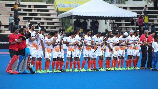 "Indian hockey team before the start their first match in the ongoing Sultan Azlan Shah Tournament (Photo: <a href=""http://hockeyindia.org/news/india-beat-japan-in-sultan-azlan-shah-cup-opener.html"">Hockey India</a>)"
