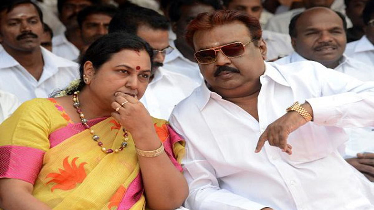 DMDK leader Premalatha and Vijayakanth. (Photo Courtesy: The News Minute)