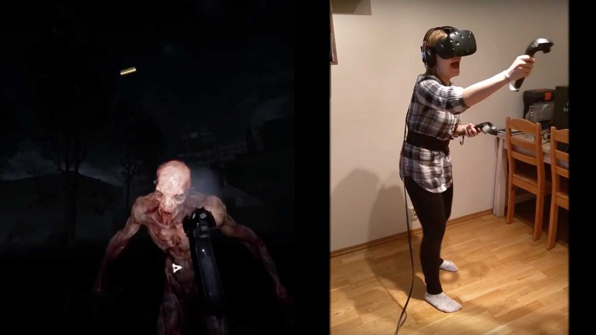 """Renate from the Karl&amp;RenateVR channel played the game on the HTC Vive VR Headset. (Photo Courtesy: <a href=""""https://www.youtube.com/channel/UCPpA3ZZxi2_cw_sT1CcJ_xw"""">Karl&amp;RenateVR</a>)"""