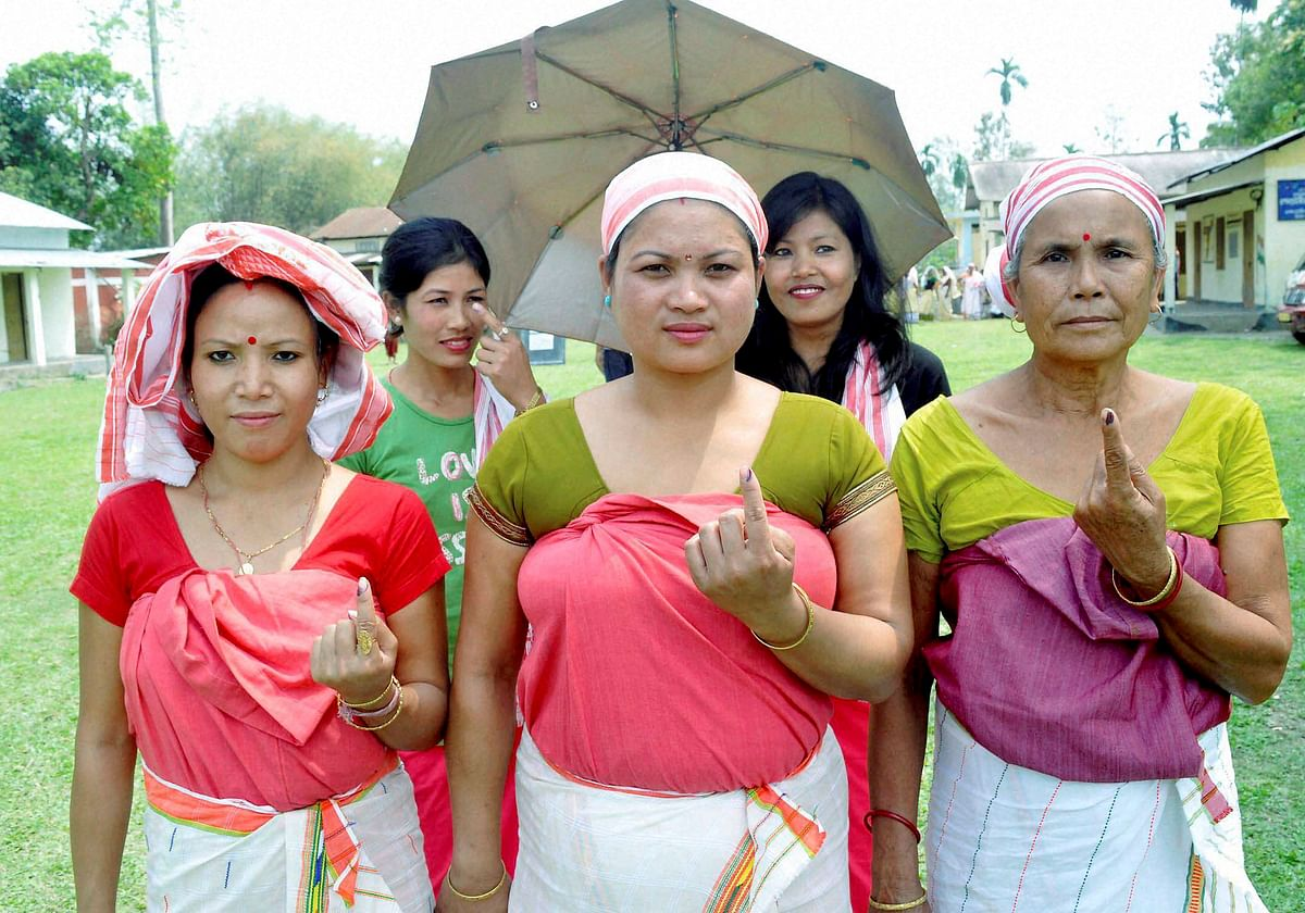 Women in Jorhat after voting in the first phase of Assam assembly elections. (Photo: PTI)