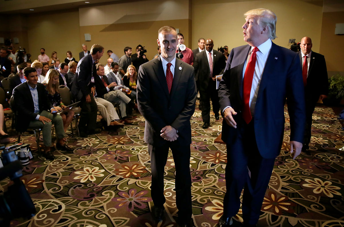 File photo of Republican presidential candidate Donald Trump, right, walking with his campaign manager Corey Lewandowski. (Photo: AP)