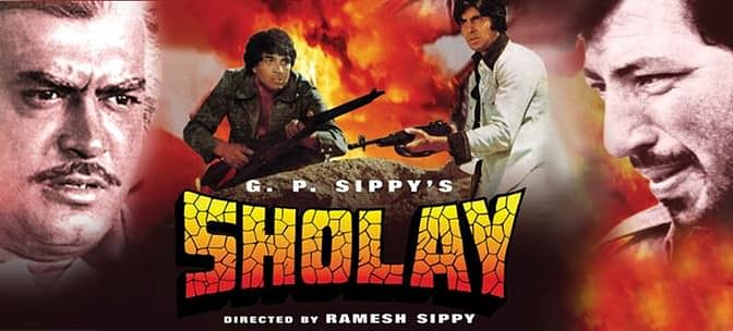 A poster of <i>Sholay.&nbsp;</i>