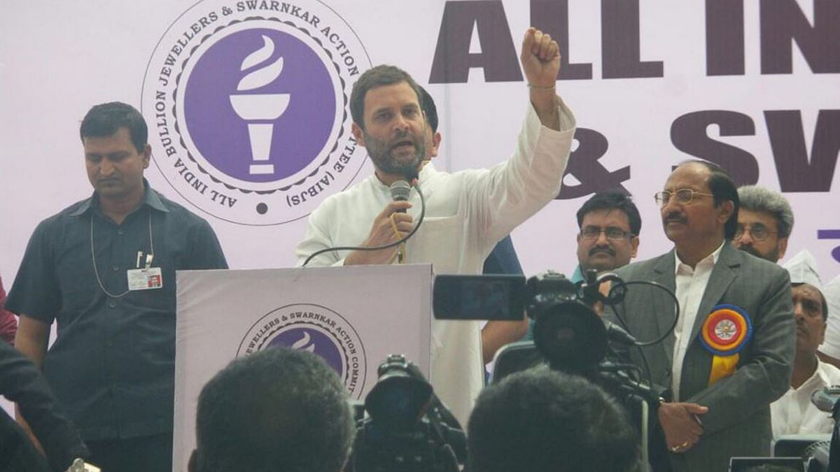 """Rahul Gandhi addresses the jewellers who are on an indefinite strike. (Photo: Twitter/<a href=""""https://twitter.com/OfficeOfRG/status/717631311943315456"""">@OfficeOfRG</a>)"""