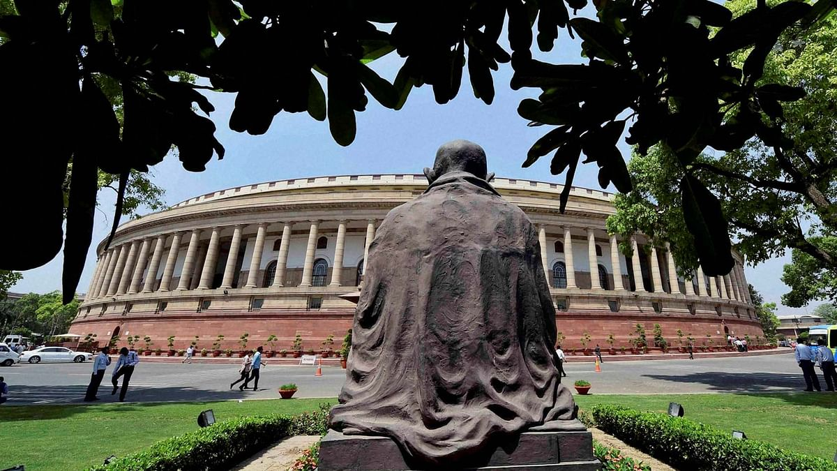 A view of Parliament House on the first day of the second part of budget session in New Delhi on Monday, 25 April 2016. (Photo: PTI)