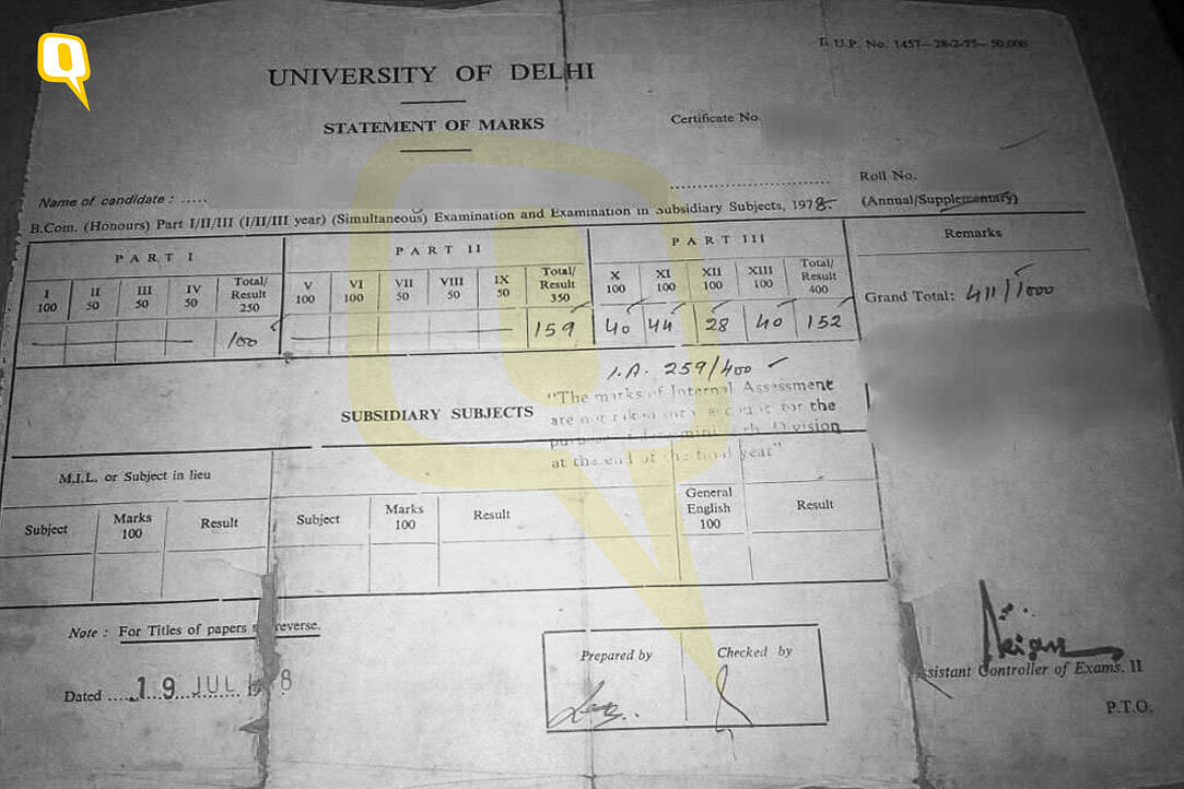 Narendra Modi's contemporary's BA Part III marksheet from 1978, with the two boxes 'prepared by' and 'checked by'. The 'prepared by' box is missing on Modi's marksheets.