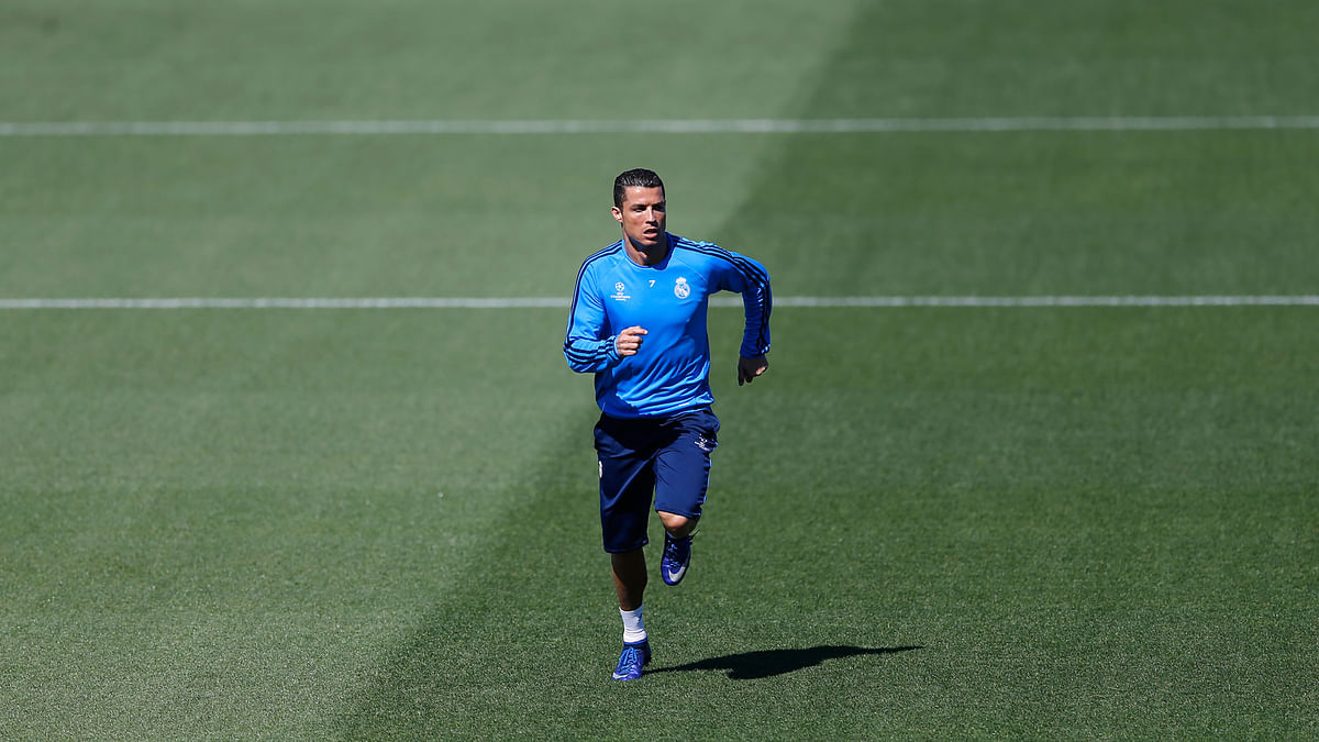 Real Madrid's Cristiano Ronaldo runs during a training session at the team's Valdebebas training ground in Madrid (Photo: AP)