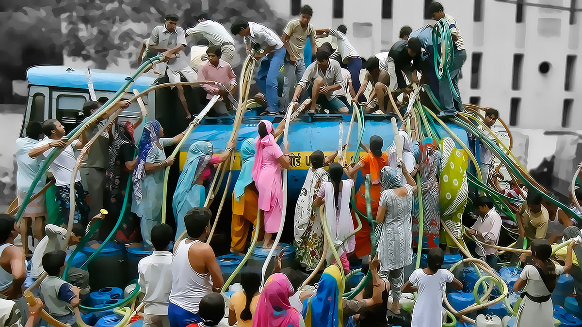 Residents of a Delhi colony crowd around a water tanker provided by Delhi Jal (water) Board to fill their containers.