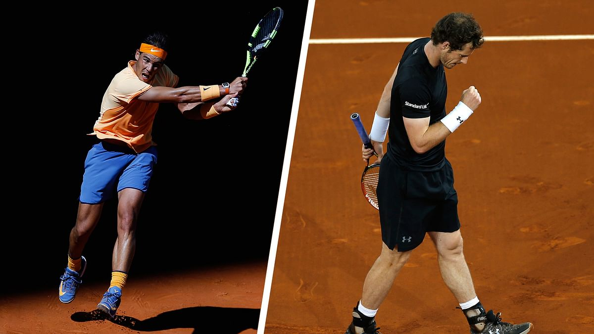 Nadal and Murray in action at the Madrid Masters (Photo: AP)