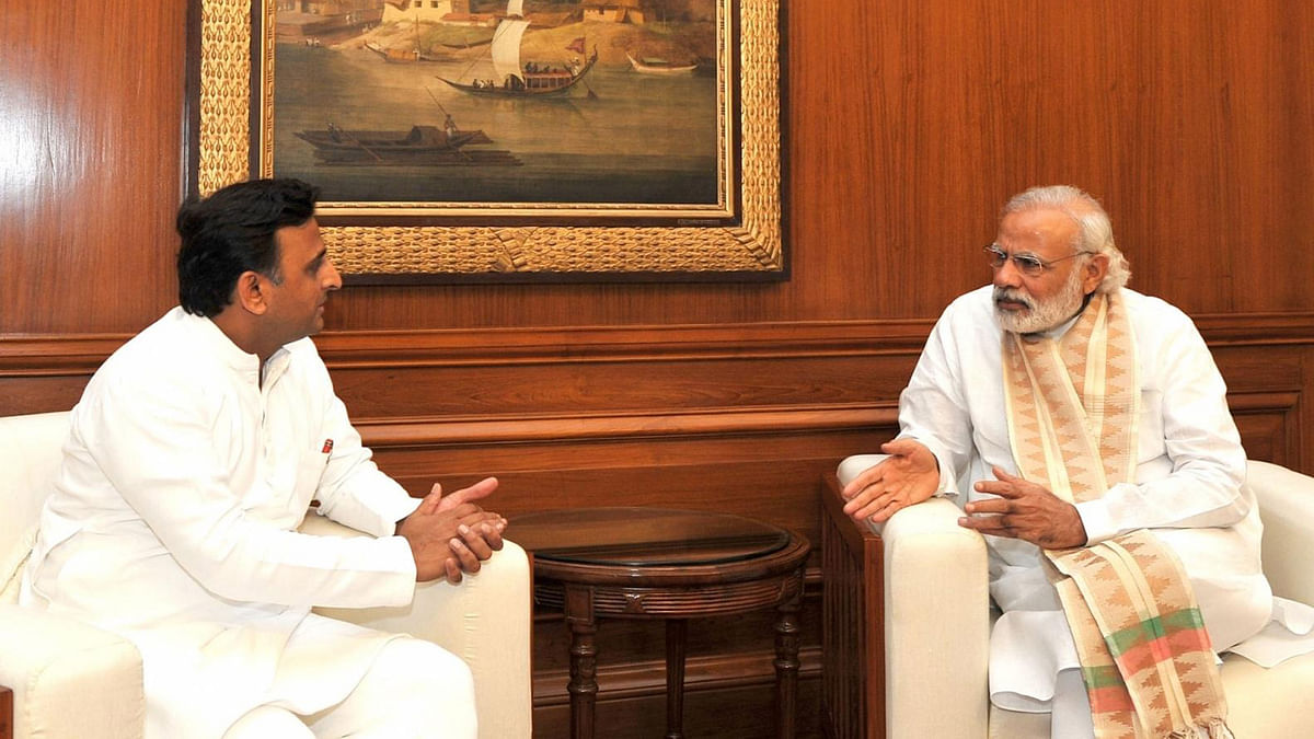 UP Chief Minister Akhilesh Yadav today met Prime Minister Narendra Modi to discuss the drought situation in the state. (Photo: IANS)