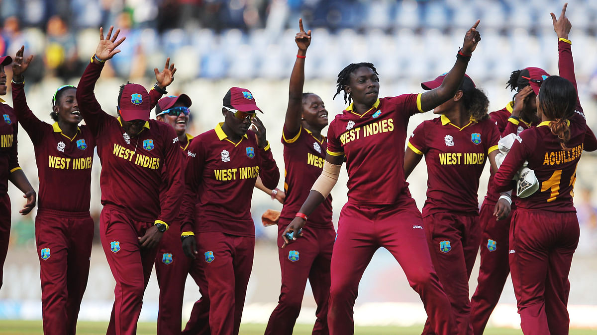 West Indies women's team celebrate after the World Cup win. (Photo: AP)