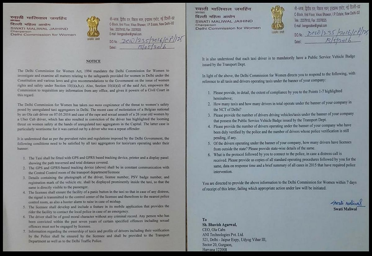 """The notice sent to Bhavish Agarwal, CEO of Ola Cab service. (Photo Courtesy: <a href=""""https://twitter.com/bhupendersiwagg/status/731032655760777217"""">Twitter/@</a><a href=""""https://twitter.com/bhupendersiwagg/status/731032655760777217"""">bhupendersiwagg</a>)"""