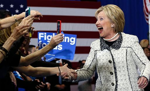 Democratic presidential candidate Hillary Clinton greets supporters at her election night watch party. (Photo Courtesy: AP/Gerald Herbert)