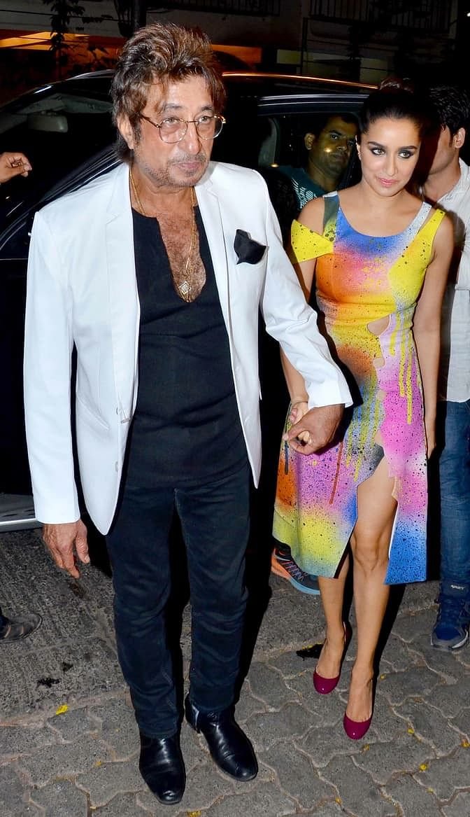 Shakti Kapoor leading his daughter to the party. (Photo: Yogen Shah)