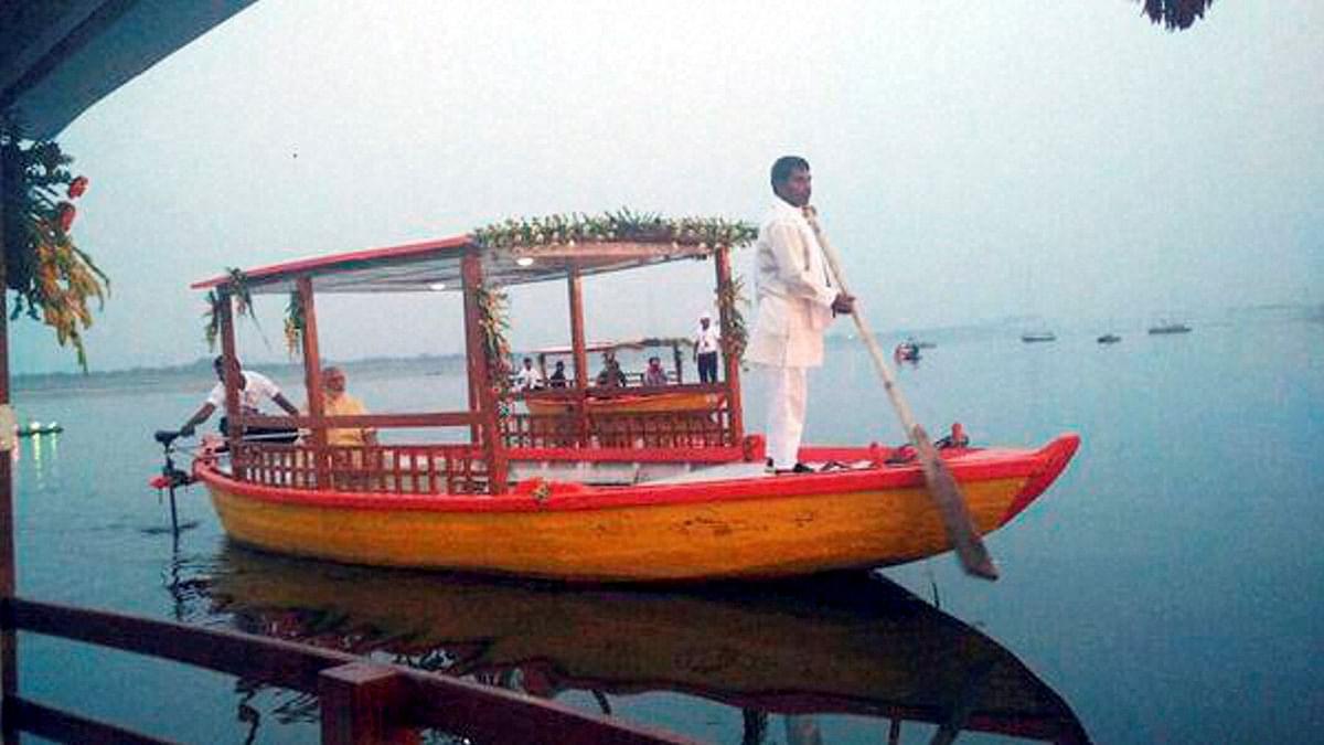 Prime Minister Narendra Modi on the e-boat in Varanasi.(Photo: PTI)