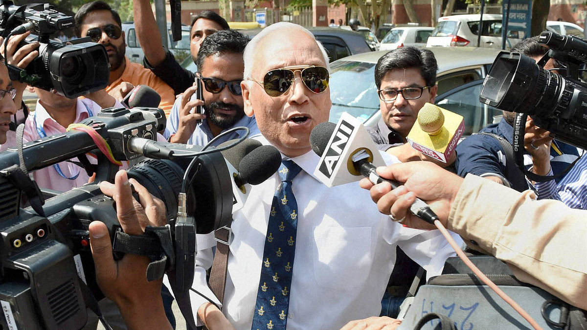 Former Air Chief Marshal S P Tyagi arrives at the CBI headquarters in New Delhi on Monday, for alleged  alleged corruption in the Rs 3,600-crore AgustaWestland chopper deal. (Photo: PTI)