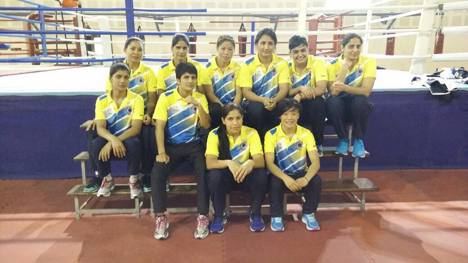 The Indian women's boxing team at their preparatory camp in New Delhi.