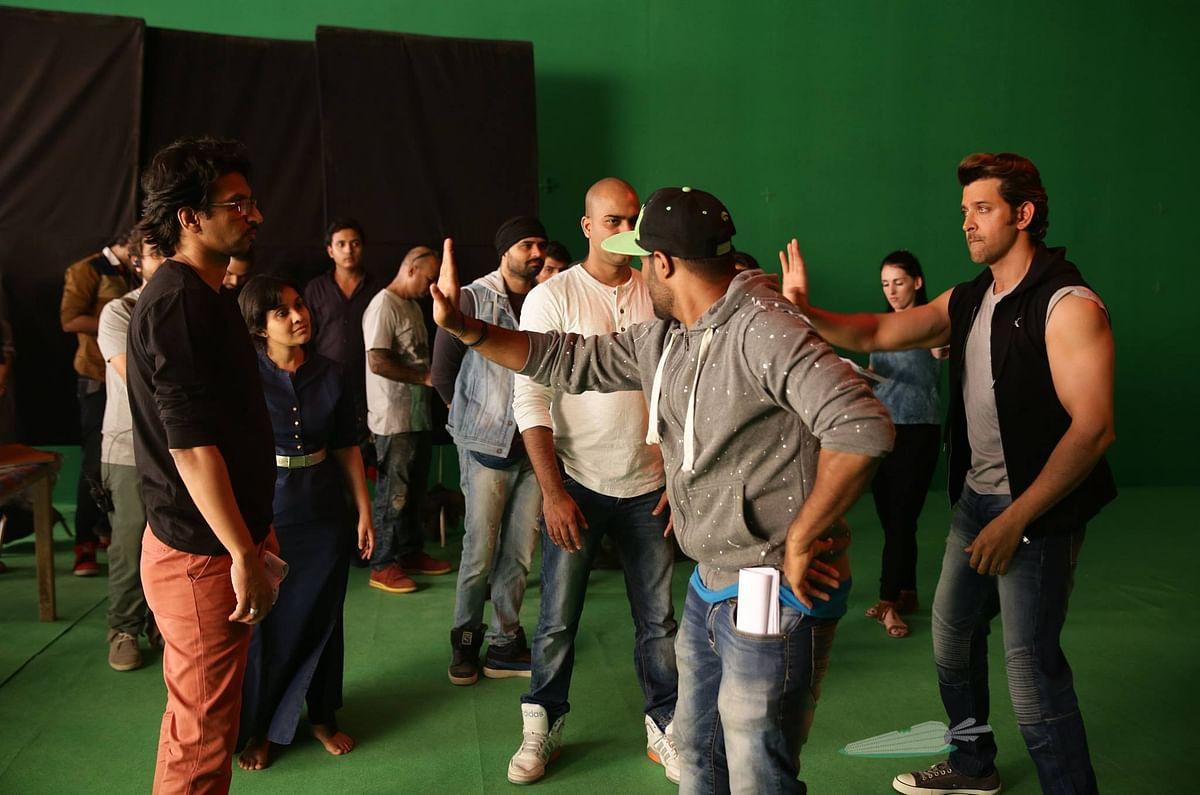 Hrithik Roshan rehearses on set with directors Hitesh Kewalya and Nupur Bhargava of <i>Invisible Rabbit</i> (Photo: Facebook/Invisible Rabbit)
