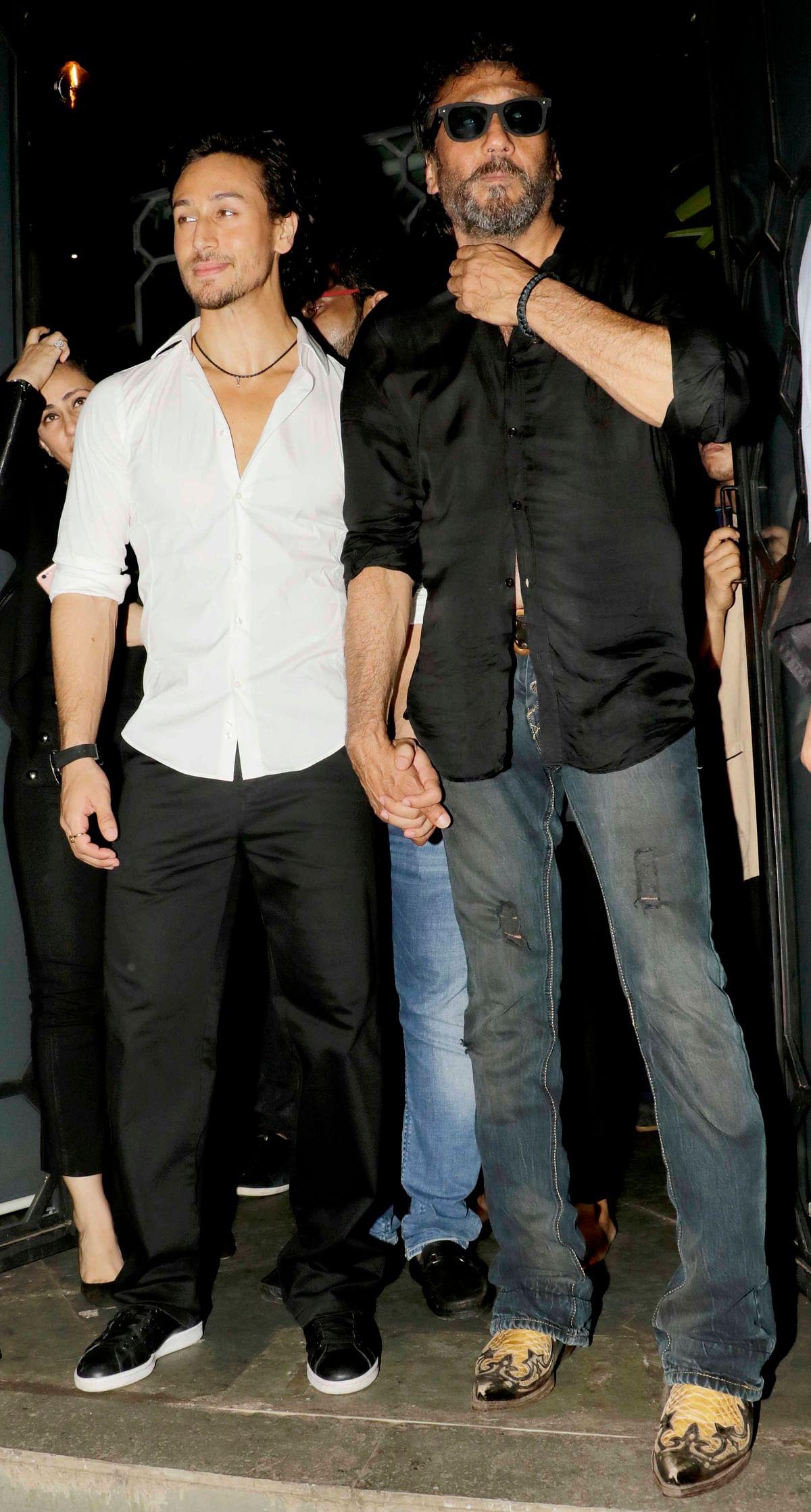 Tiger Shroff with his dad, Jackie Shroff at the <i>Baaghi </i>success bash. (Photo: Yogen Shah)