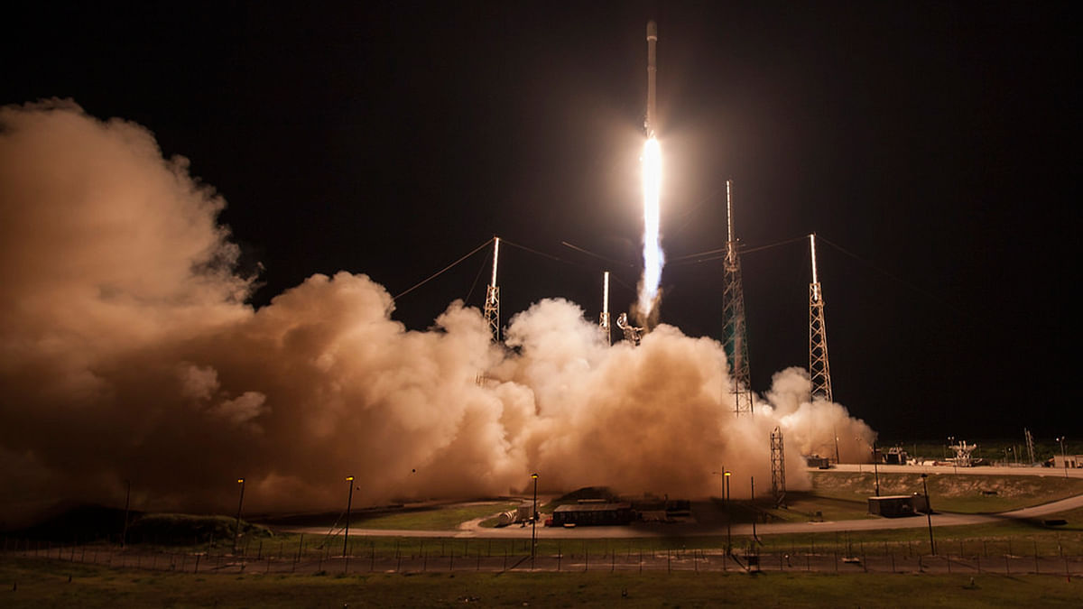"""Launch of SpaceX carrying the JCSAT-14( Photo Courtesy: <a href=""""https://www.flickr.com/photos/spacex/26778141661/"""">Flickr</a>)"""