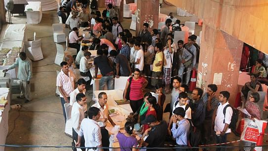 Students stand in queues for JNU admission. (Photo Courtesy: JNU website)