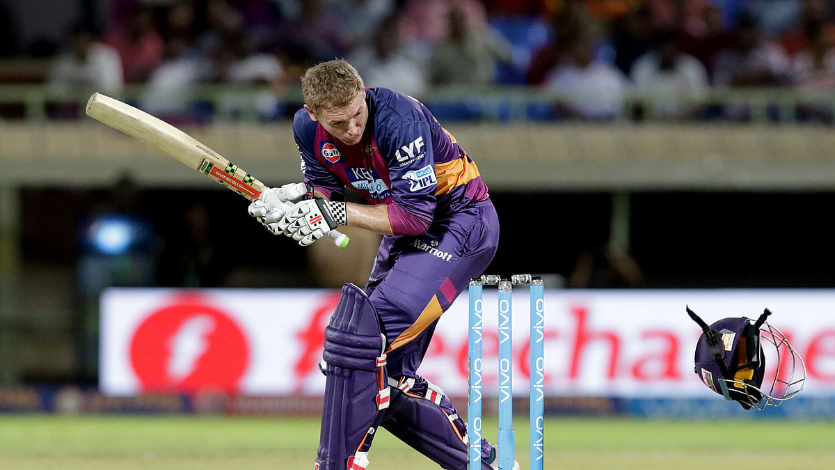 Coulter-Nile knocked off Bailey's helmet with a bouncer. (Photo: BCCI)
