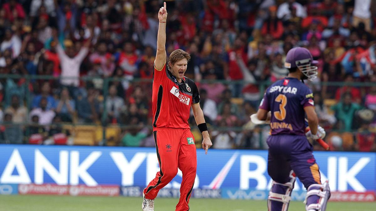 Shane Watson of Royal Challengers Bangalore celebrates the wicket of Ajinkya Rahane (Photo: BCCI)