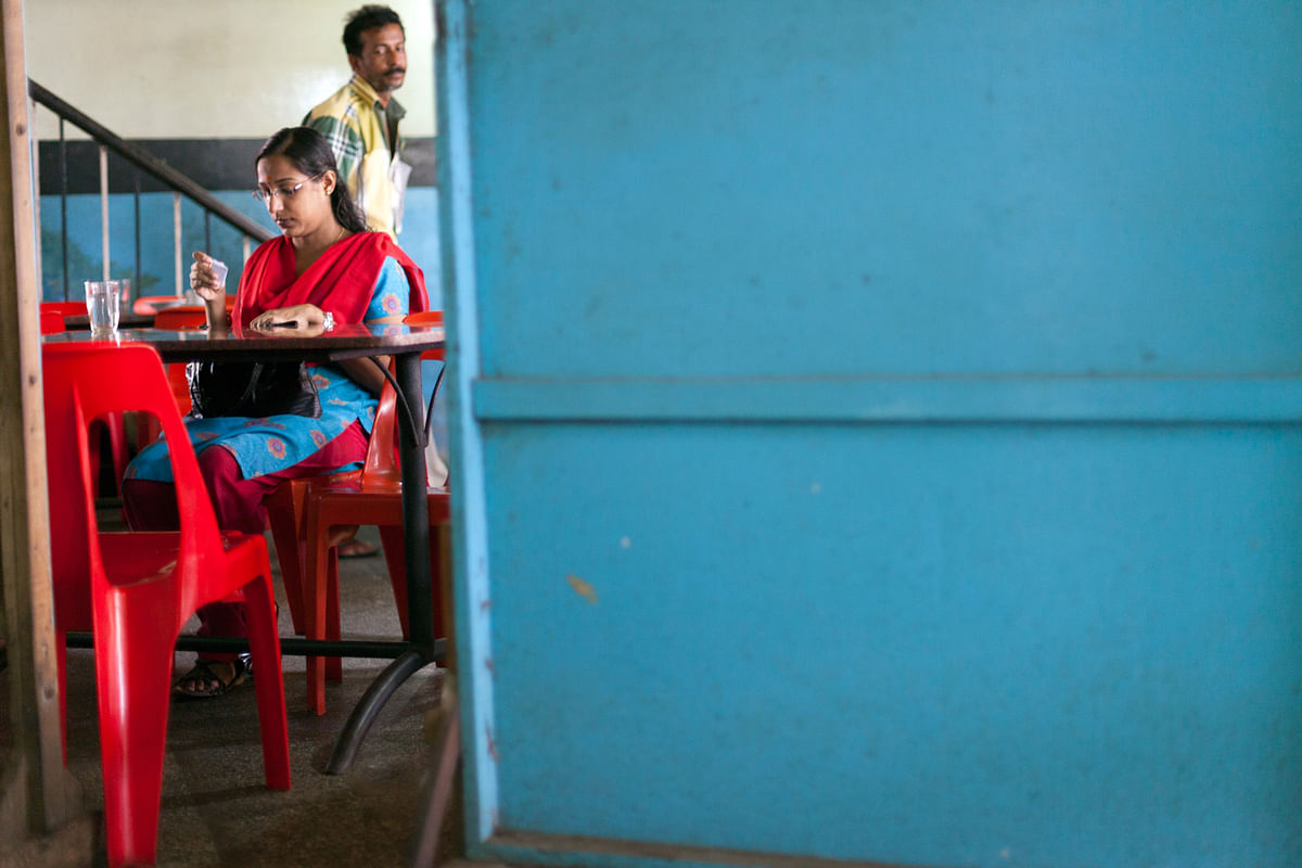 A woman customer at Indian Coffee House, Thrissur, Kerala. (Photo: Sent by Stuart Freedman)