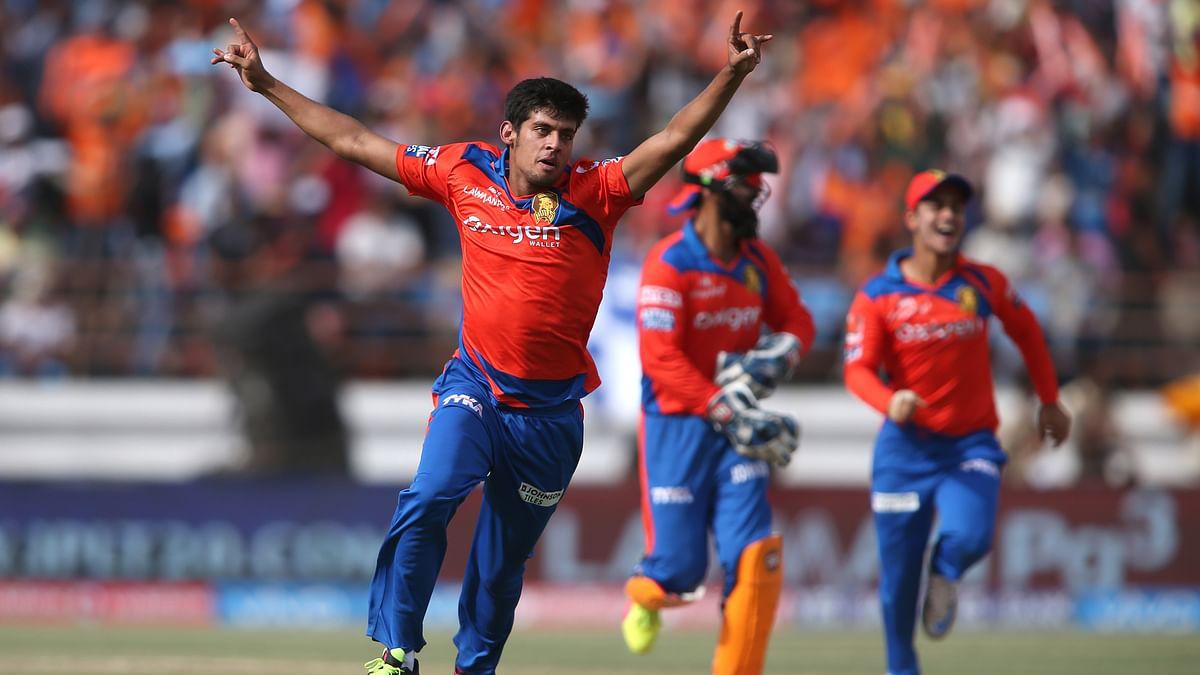 Shivil Kaushik of Gujarat Lions celebrate after taking Glen Maxwell's wicket (Photo: BCCI)
