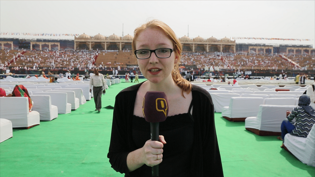 This is me, reporting the first day of your World Culture Festival. (Photo: Sanjoy Deb)