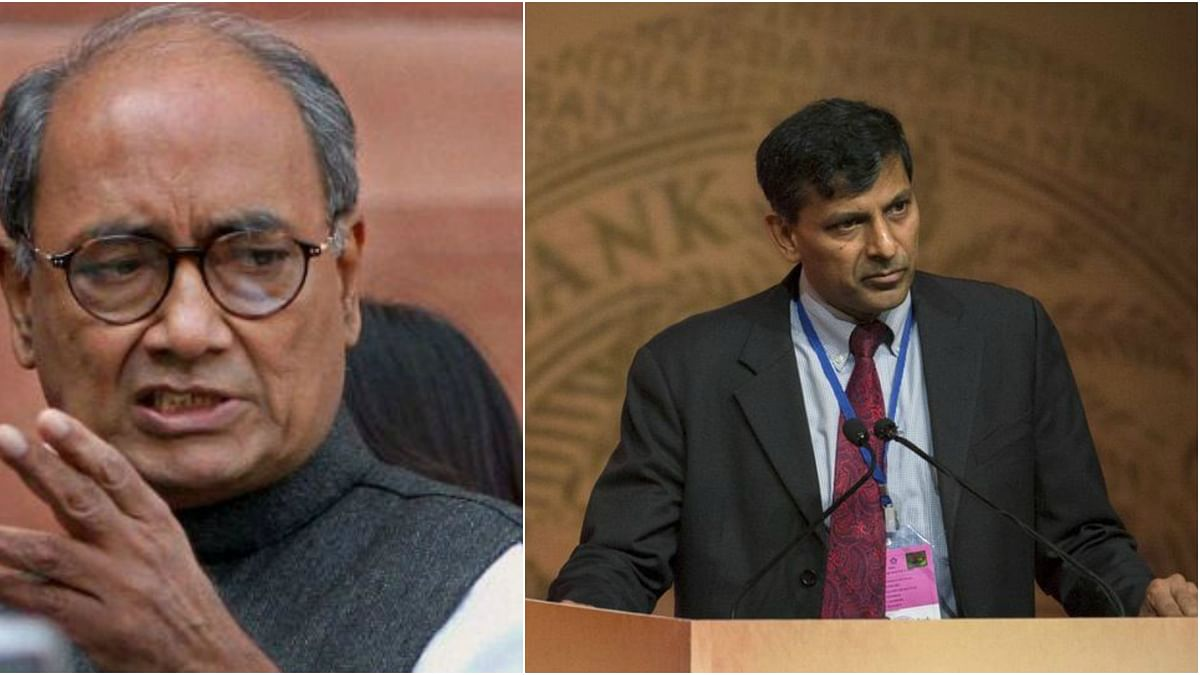 The comments by Digvijay Singh came after Subramanian Swamy wrote a letter to PM Modi to terminate Raghuram Rajan's appointment as RBI Governor. (Photo: PTI/ Reuters/Altered by <b>The Quint</b>)