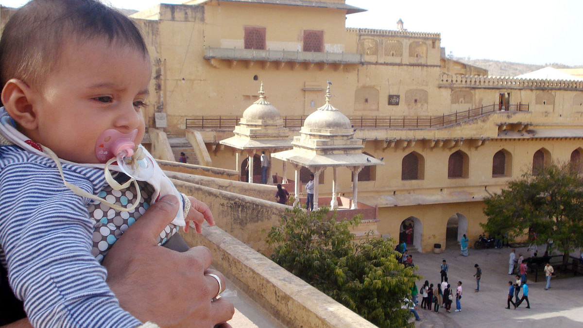 Kazuo at his first monument in the Amer Fort. (Photo Courtesy: Sahar Zaman)