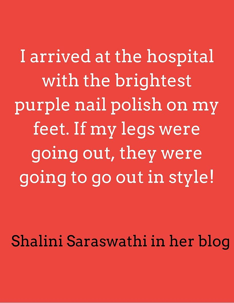 Shalini Saraswathi wrote this on her blog on the day her legs were to be amputated. (Photo: <b>The Quint</b>)