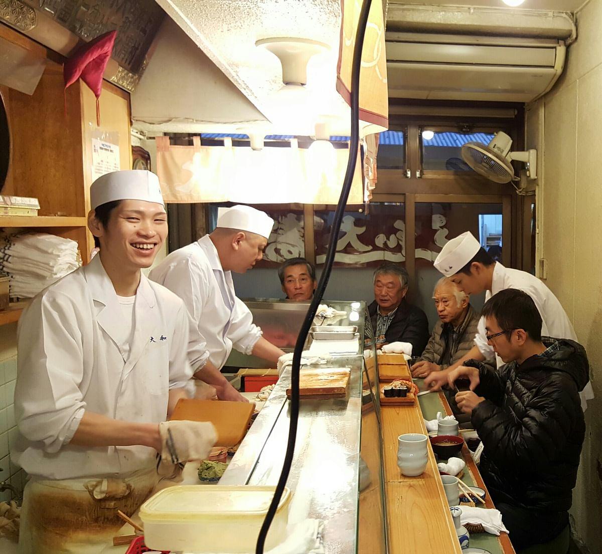 Happy chefs at Daiwa Sushi. (Photo Courtesy: Ashwin Rajagopalan)