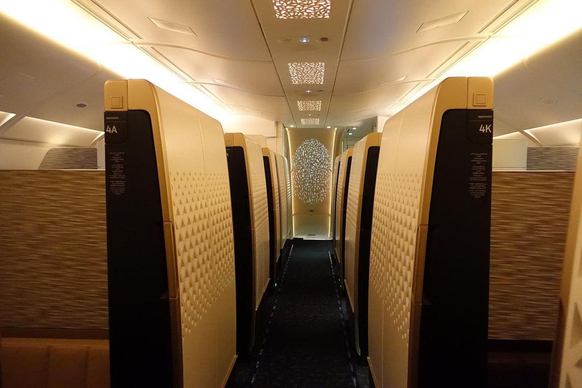 The aisle on the Etihad The Residence looks majestic. (Photo: Etihad Airways)