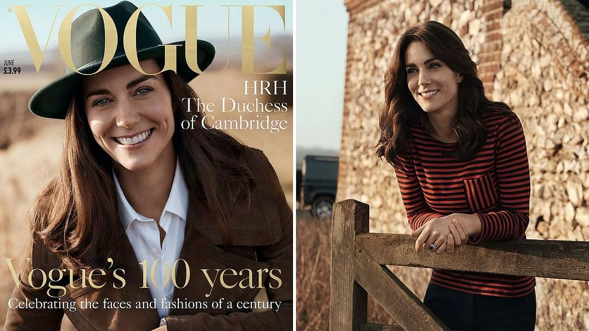 "UK royal Kate Middleton appears on the cover of Vogue's 100th anniversary edition. (Photo Courtesy:<a href=""https://twitter.com/BritishVogue?ref_src=twsrc%5Etfw""> Josh Olins/Vogue</a>)"