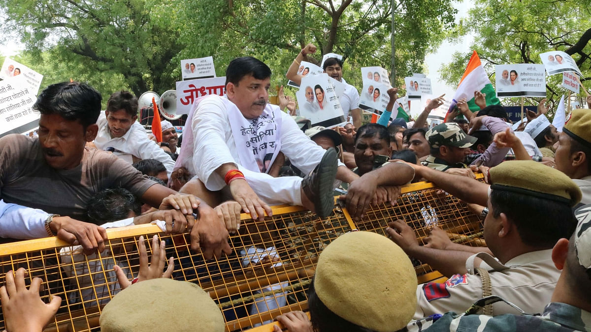 AAP leader Sanjay Singh during the protest rally against the central government on May 7, 2016. (Photo: IANS)