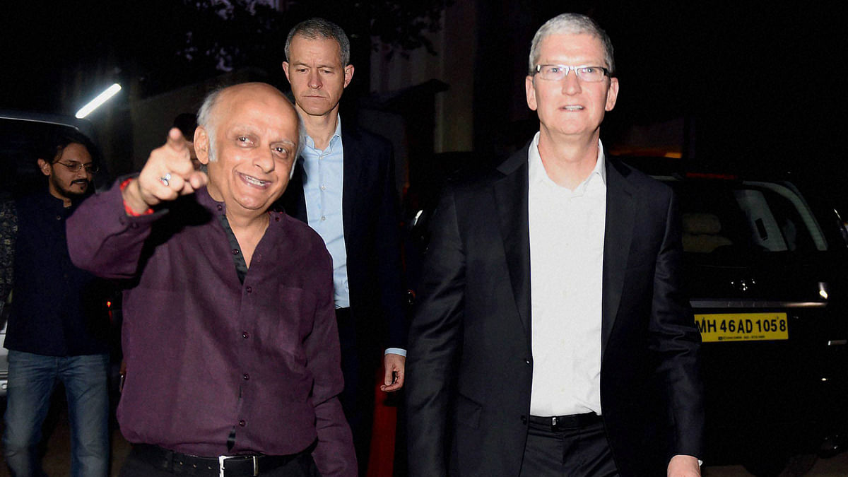 Before Khan's party, Tim Cook visited Mehbooba Studios with Mukesh Bhatt. (Photo: PTI)
