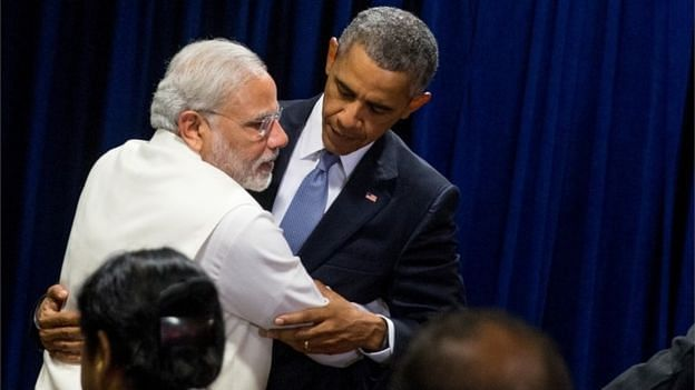 File photo of Prime Minister Narendra Modi reaching out to embrace US president Barack Obama  following a bilateral meeting at United Nations headquarters. (Photo: AP)
