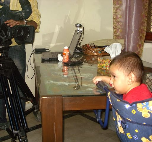 Kazuo learning re-takes in his first TV shoot. (Photo Courtesy: Sahar Zaman)